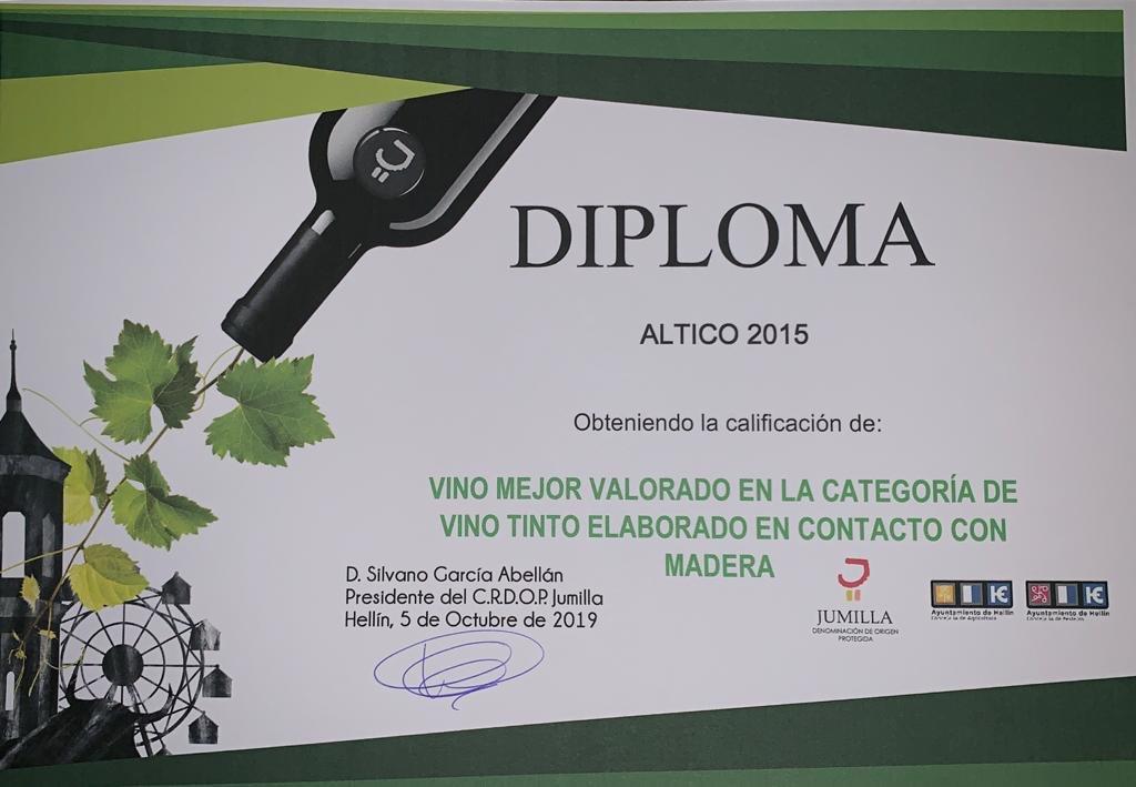 Diploma a vino ALTICO 2015