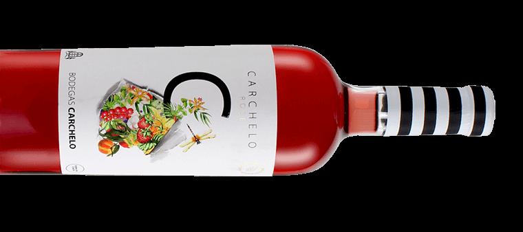 Carchelo Rosé, botella de vino horizontal